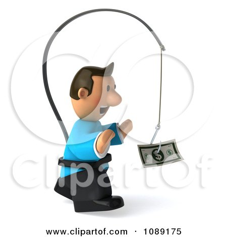 Clipart 3d Toon Guy Chasing Cash On A Stick 2 - Royalty Free CGI Illustration by Julos
