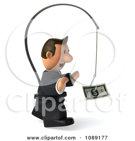 Clipart 3d Business Toon Guy Chasing Cash On A Stick 2 - Royalty Free CGI Illustration by Julos