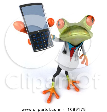 Clipart 3d Doctor Springer Frog Holding A Cell Phone 1 - Royalty Free CGI Illustration by Julos
