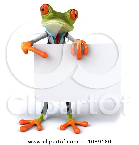 Clipart 3d Doctor Springer Frog Holding A Sign 2 - Royalty Free CGI Illustration by Julos