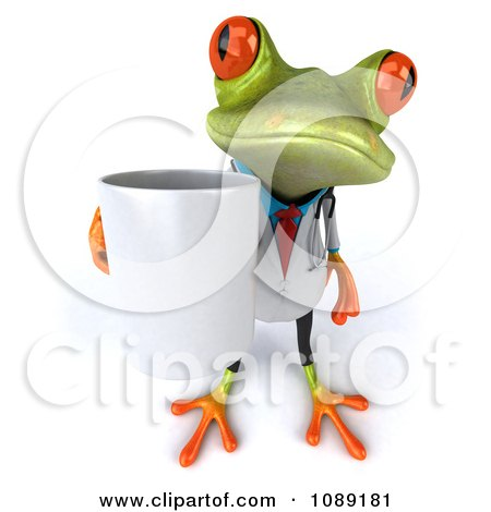 Clipart 3d Doctor Springer Frog Carrying A Coffee Mug 2 - Royalty Free CGI Illustration by Julos