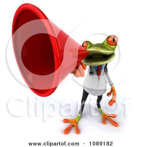 Clipart 3d Doctor Springer Frog Announcing With A Megaphone 4 - Royalty Free CGI Illustration by Julos