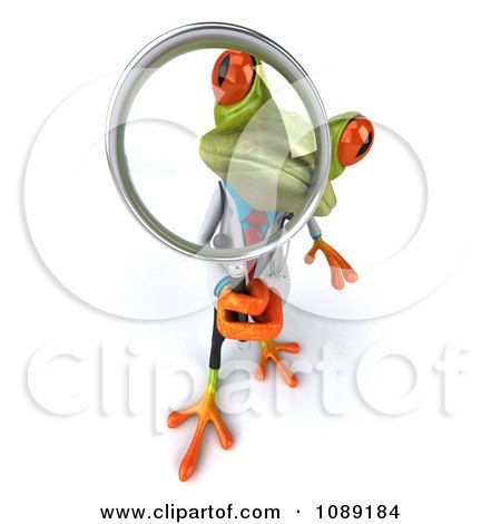 Clipart 3d Doctor Springer Frog Using A Magnifying Glass 3 - Royalty Free CGI Illustration by Julos