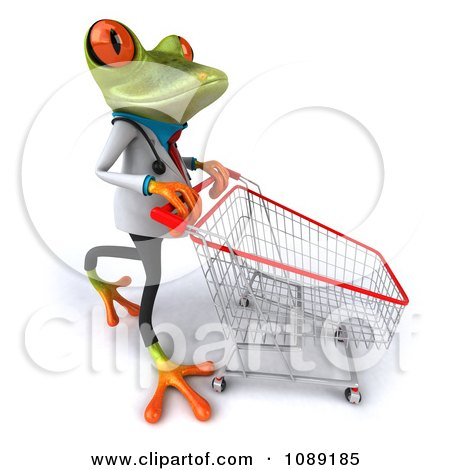 Clipart 3d Doctor Springer Frog Pushing A Shopping Cart - Royalty Free CGI Illustration by Julos