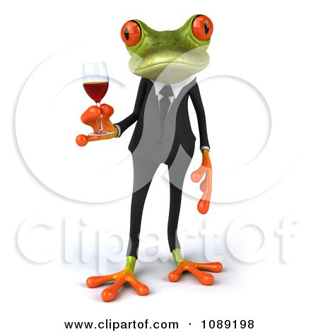 Clipart 3d Business Springer Frog Toasting With Red Wine 1 - Royalty Free CGI Illustration by Julos
