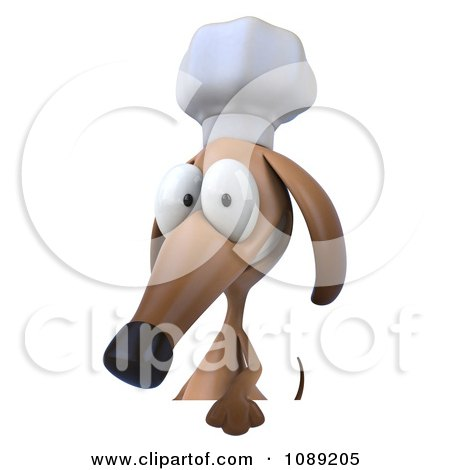 Clipart 3d Chef Dachshund Dog Holding A Menu Board 1 - Royalty Free CGI Illustration by Julos