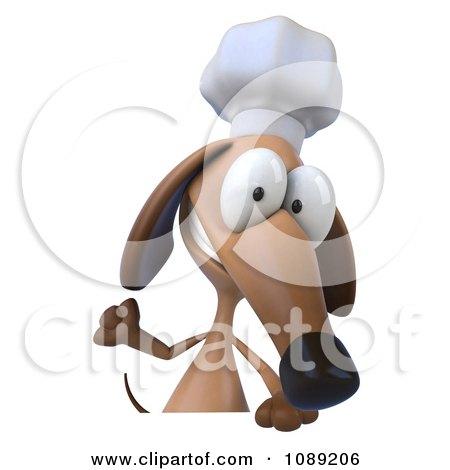 Clipart 3d Chef Dachshund Dog Holding A Menu Board 2 - Royalty Free CGI Illustration by Julos