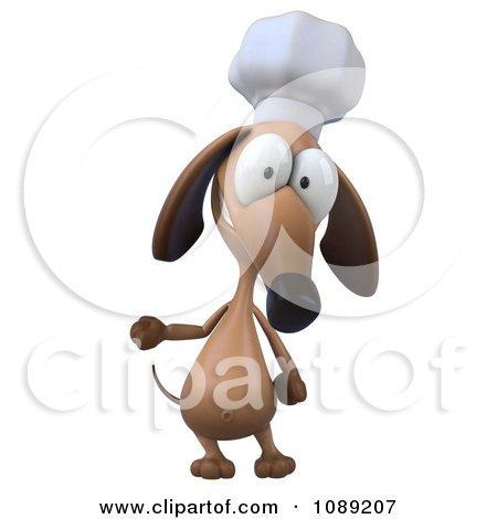 Clipart 3d Chef Dachshund Dog Presenting 1 - Royalty Free CGI Illustration by Julos
