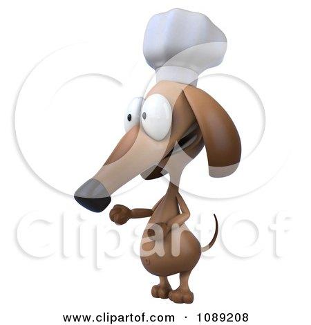 Clipart 3d Chef Dachshund Dog Presenting 2 - Royalty Free CGI Illustration by Julos