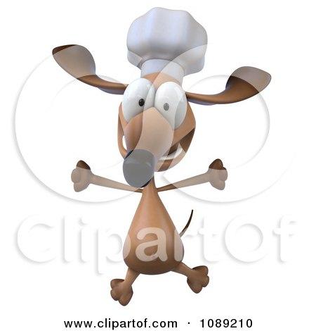 Clipart 3d Chef Dachshund Dog Jumping 1 - Royalty Free CGI Illustration by Julos