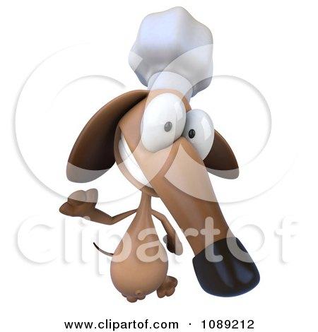 Clipart 3d Chef Dachshund Dog Waving 2 - Royalty Free CGI Illustration by Julos