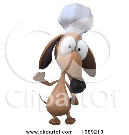 Clipart 3d Chef Dachshund Dog Waving 1 - Royalty Free CGI Illustration by Julos