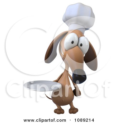 Clipart 3d Chef Dachshund Dog Holding A Plate 3 - Royalty Free CGI Illustration by Julos