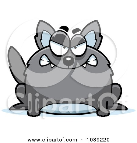 Clipart Chubby Mean Gray Wolf - Royalty Free Vector Illustration by Cory Thoman