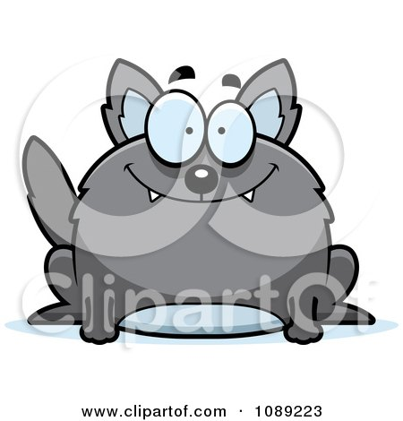 Clipart Chubby Smiling Gray Wolf - Royalty Free Vector Illustration by Cory Thoman