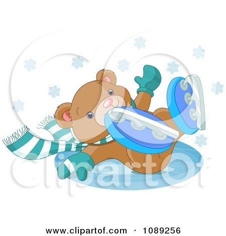 Clipart Teddy Bear Falling While Ice Skating - Royalty Free Vector Illustration by Pushkin