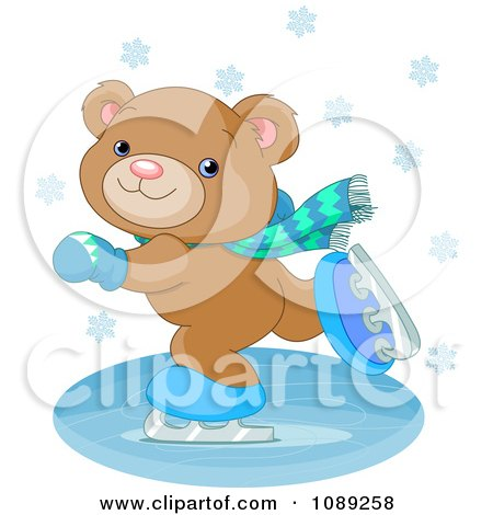 Clipart Teddy Bear Ice Skating - Royalty Free Vector Illustration by Pushkin