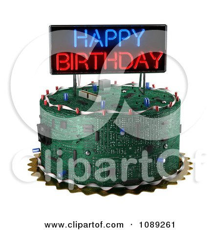 Clipart 3d Computer Circuit Board Birthday Cake With A Neon Sign Royalty Free CGI Illustration