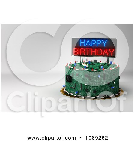 Clipart 3d Circuit Board Birthday Cake With Copyspace And A Neon Sign - Royalty Free CGI Illustration by stockillustrations