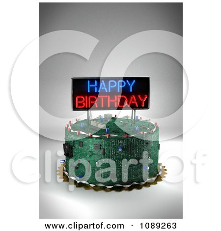 Clipart 3d Circuit Board Birthday Cake With A Neon Sign - Royalty Free CGI Illustration by stockillustrations