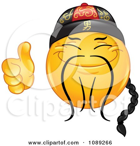 Clipart Yellow Thumbs Up Chinese Emoticon Smiley - Royalty Free Vector Illustration by yayayoyo