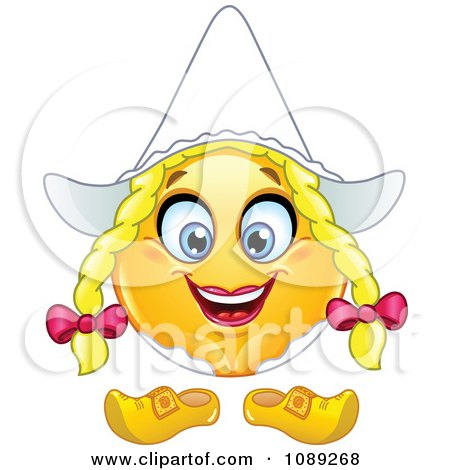 Clipart Yellow Dutch Woman Emoticon Smiley - Royalty Free Vector Illustration by yayayoyo