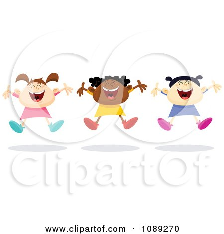 Clipart Three Kids Jumping Together - Royalty Free Vector Illustration by yayayoyo