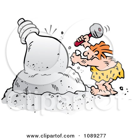 Clipart Creative Caveman Chiseling A Light Bulb - Royalty Free Vector Illustration by Johnny Sajem