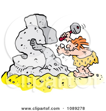 Clipart Creative Caveman Chiseling A Dollar Symbol - Royalty Free Vector Illustration by Johnny Sajem