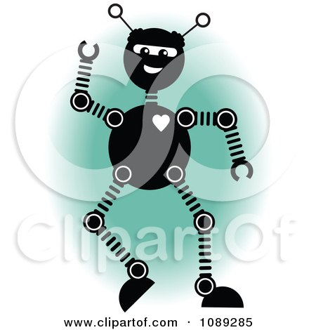 Clipart Happy Long Legged Robot Waving Over A Green Oval - Royalty Free Vector Illustration by mheld