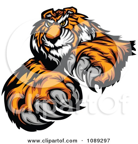 Clipart Tiger Mascot With Claws - Royalty Free Vector Illustration by Chromaco