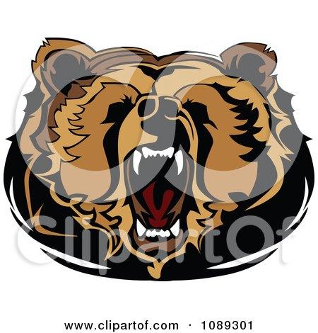 Clipart Roaring Bear Mascot Head - Royalty Free Vector Illustration by Chromaco