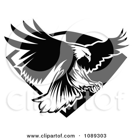 Clipart Black And White Bald Eagle Flying Badge - Royalty Free Vector Illustration by Chromaco