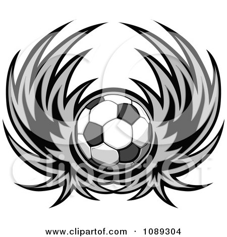 Clipart Gray Winged Soccer Ball - Royalty Free Vector Illustration by Chromaco