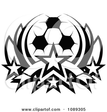 Clipart Black And White Soccer Ball With Stars - Royalty Free Vector Illustration by Chromaco