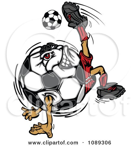 Clipart Soccer Ball Mascot Kicking - Royalty Free Vector Illustration by Chromaco