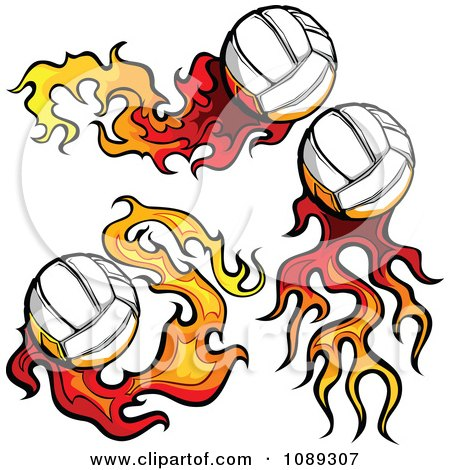 Clipart Three Flaming Volleyballs - Royalty Free Vector Illustration by Chromaco