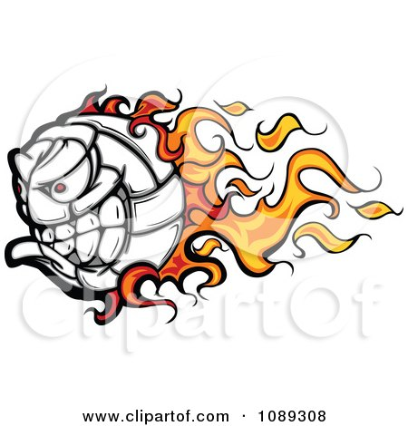 Clipart Flaming Volleyball Ball Mascot - Royalty Free Vector Illustration by Chromaco