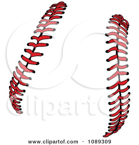 Clipart Red Baseball Lace Stitches - Royalty Free Vector Illustration by Chromaco