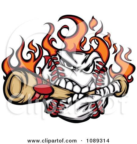 Clipart Flaming Baseball Mascot Biting A Bat - Royalty Free Vector Illustration by Chromaco