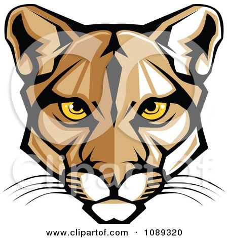 Clipart Cougar Mascot Face With Yellow Eyes - Royalty Free Vector Illustration by Chromaco