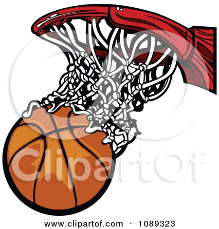Clipart Basketball Falling Through A Net - Royalty Free Vector Illustration by Chromaco
