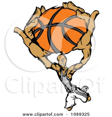 Clipart Basketball Player Athlete Slam Dunking A Ball - Royalty Free Vector Illustration by Chromaco