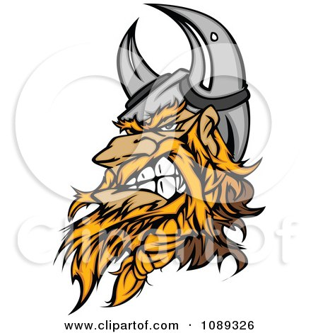 Clipart Viking Warrior Mascot Clenching His Jaw - Royalty Free Vector Illustration by Chromaco