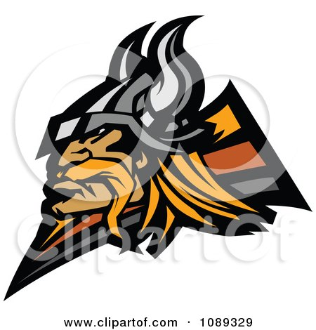 Clipart Profiled Viking Warrior Mascot - Royalty Free Vector Illustration by Chromaco