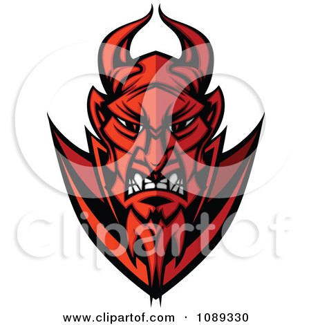 Clipart Mad Devil Mascot Face - Royalty Free Vector Illustration by Chromaco