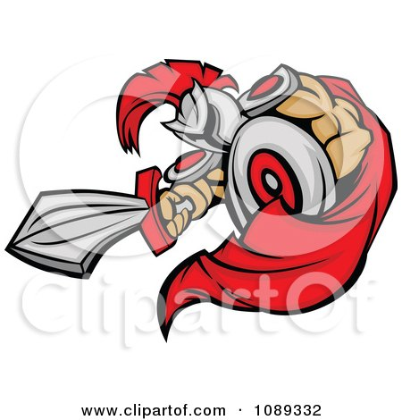 Clipart Stabbing Spartan Mascot With A Sword - Royalty Free Vector Illustration by Chromaco