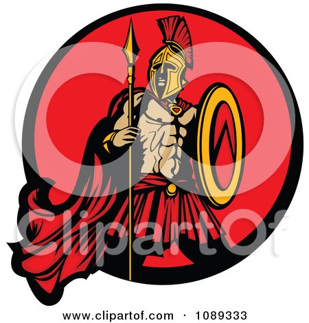 Spartan Mascot With A Spear And Red Circle Posters, Art Prints
