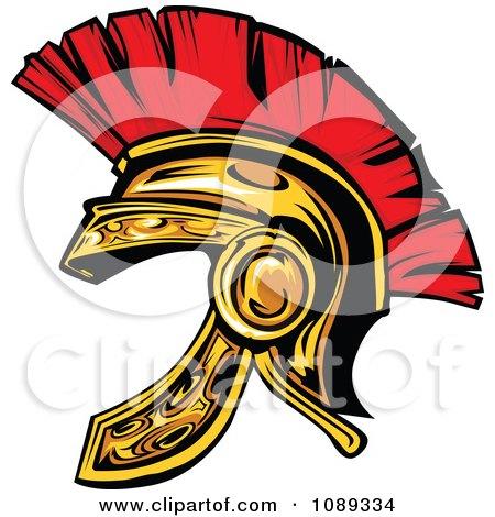 Clipart Gold Spartan Helmet - Royalty Free Vector Illustration by Chromaco