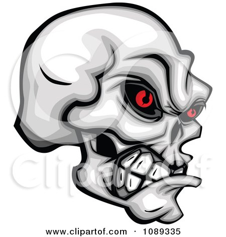 Clipart Demonic Skull Clenching Its Jaw - Royalty Free Vector Illustration by Chromaco